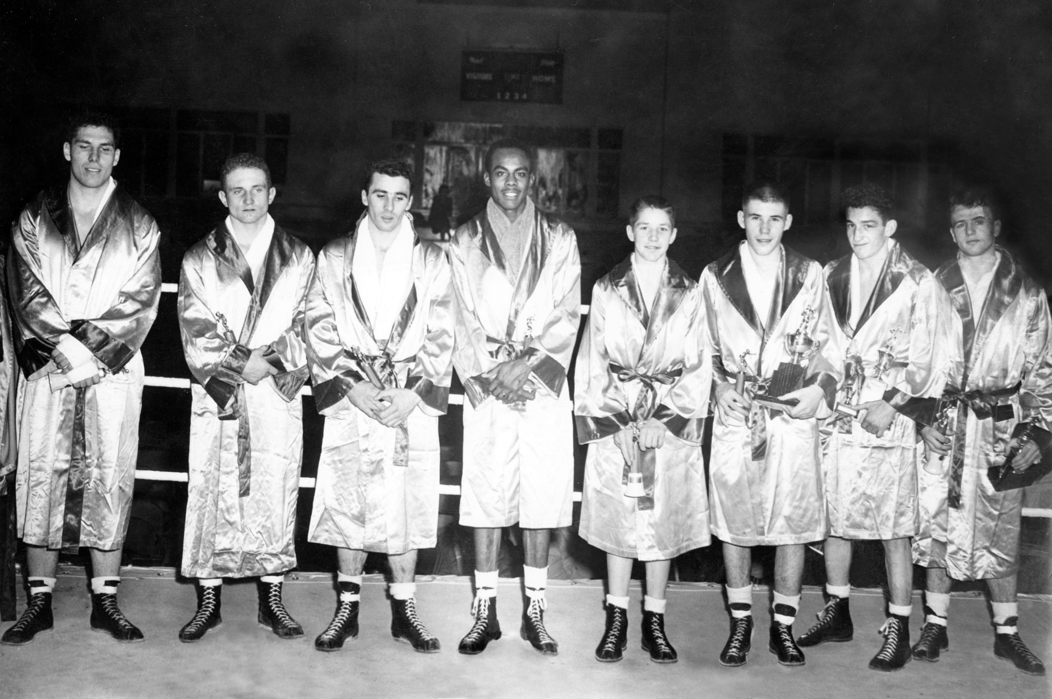 Competitors of the Golden Gloves Boxing Tournament at the Shrine Auditorium, 1958. Francis Turley is second from left. Wayne Bell is third from right. -- COURTESY WAYNE BELL