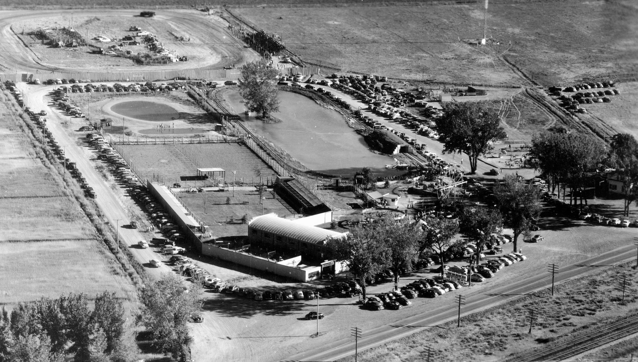 Wonderland amusement park, circa 1950s. It featured a speedway, thrill rides, pony rides, trout pond, and a train. -- Jim Reich