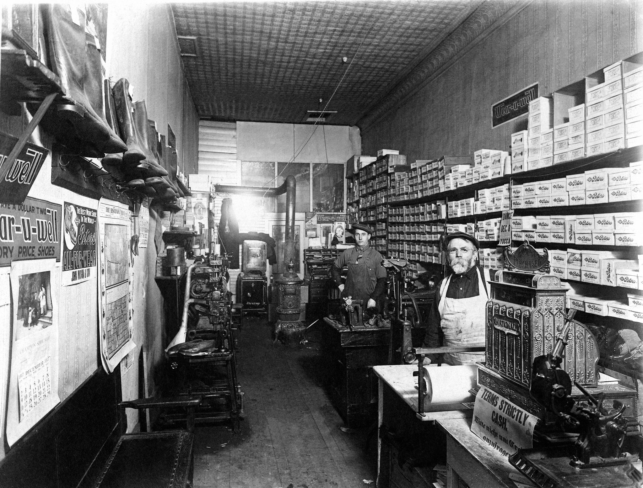 Interior view of the Champion Shoe Shop (name later changed to Mushik's), Mandan, 1917. -- Courtesy Becky Mushik Roesler