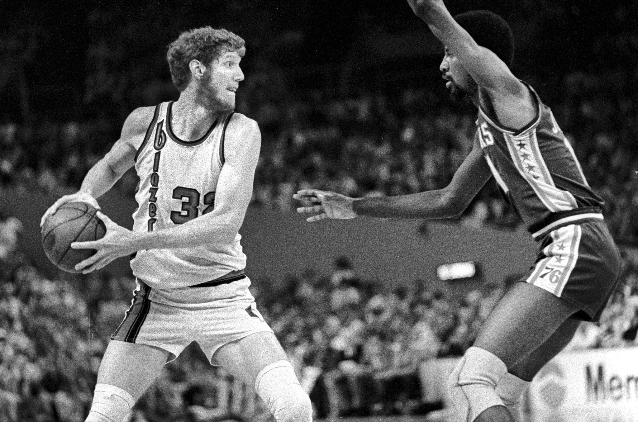 Bill Walton (32) was one of the best passing big men in the NBA. In the 1977 NBA Finals he led the Blazers with 5.2 assists per game. -- MICHAEL LLOYD / THE OREGONIAN/OREGONLIVE