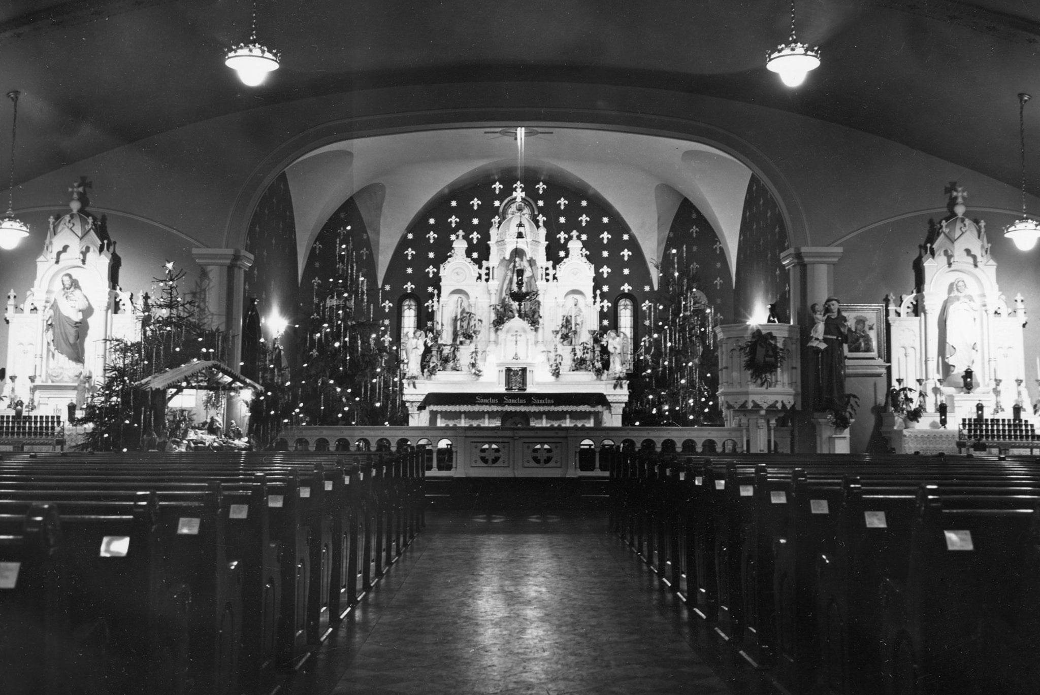 St. Florian Church at the corner of Hertel Avenue and St. Florian Street, decorated for Christmas in 1947. The church opened in 1916 and closed in 2007. -- AUDREY KAMINSKI