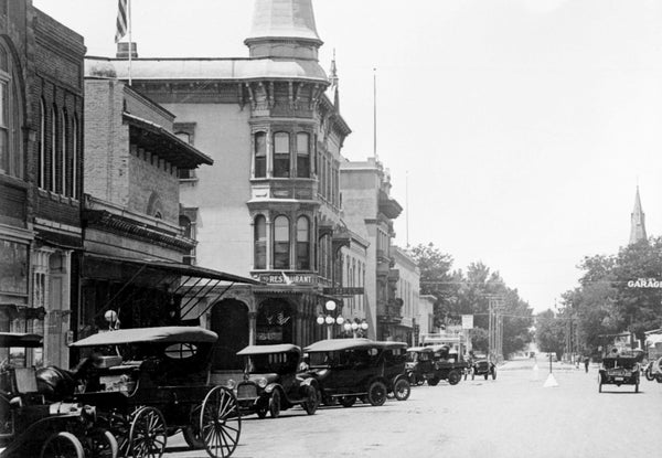 A view of the southside of Main Street at College Street, Woodland, circa 1915. -- Courtesy of Yolo County Archives
