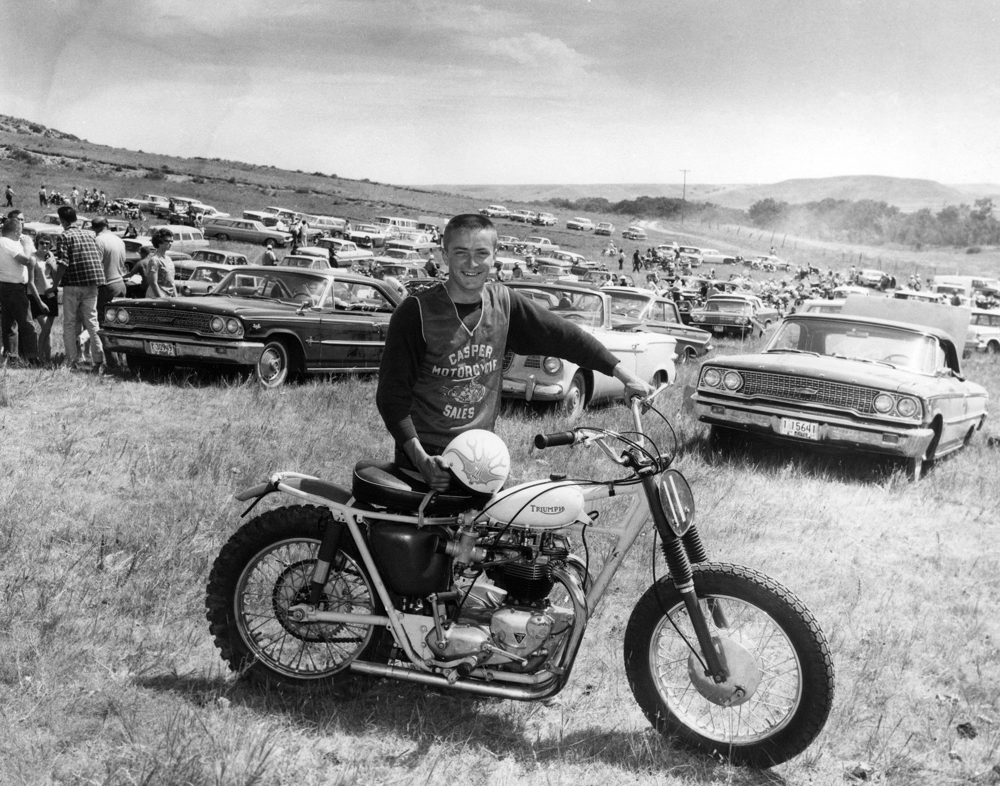 Tim Oler with his specially built Triumph dragster motorcycle he rode for Casper Motorcycle Sales at the races outside of Casper, circa 1964. -- COURTESY DEBBIE SHEDDEN