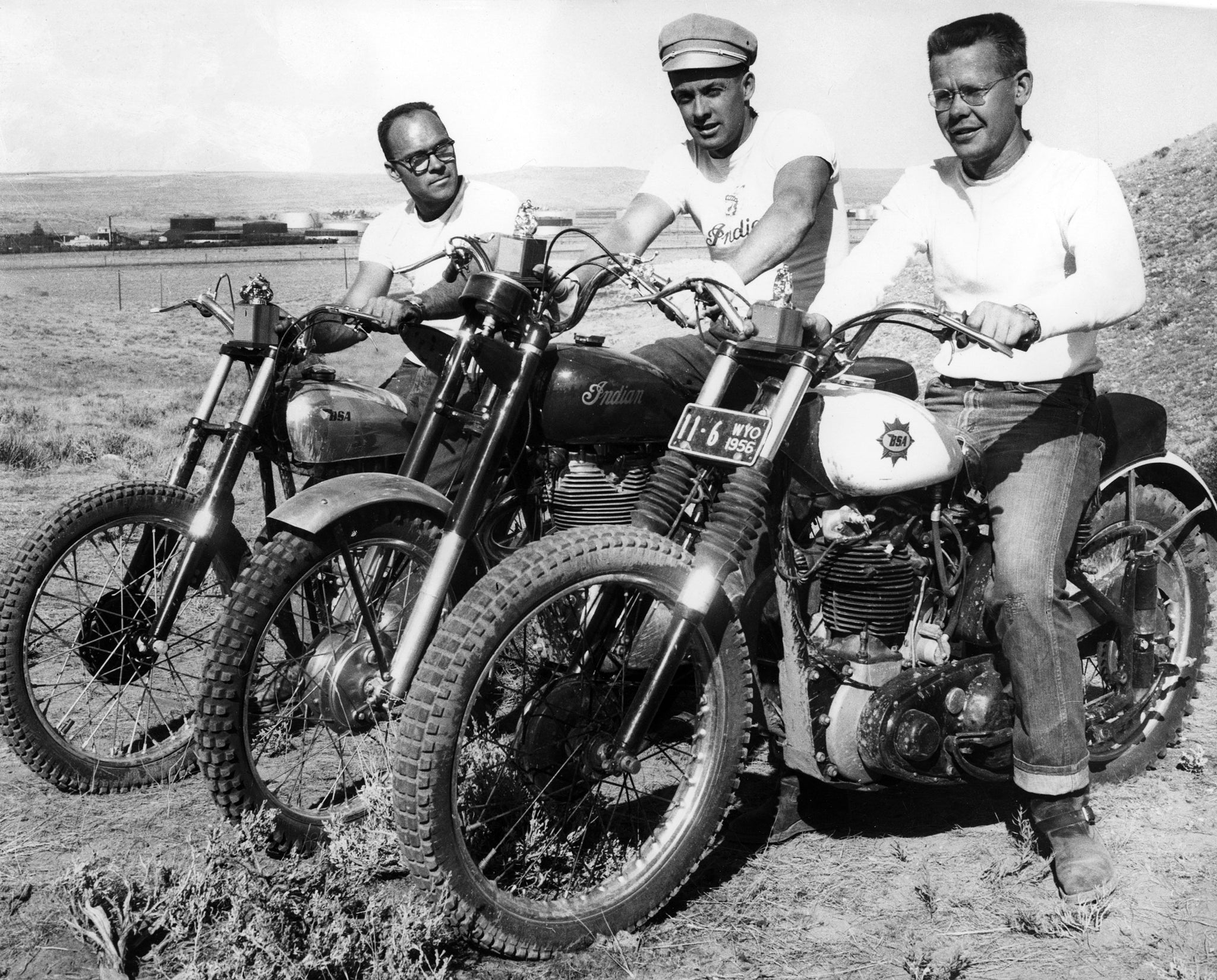 Pronghorn Motorcycle Club race winners, 1956. Lloyd Oler is in the center. -- COURTESY DEBBIE SHEDDEN