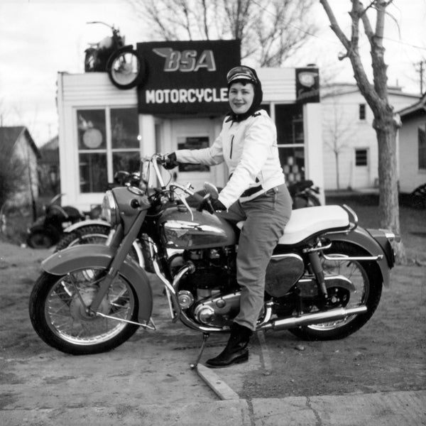 Olive Oler, the first woman to be seen riding her BSA motorcycle around Casper, 1343 S. McKinley St., 1956. -- COURTESY DEBBIE SHEDDEN