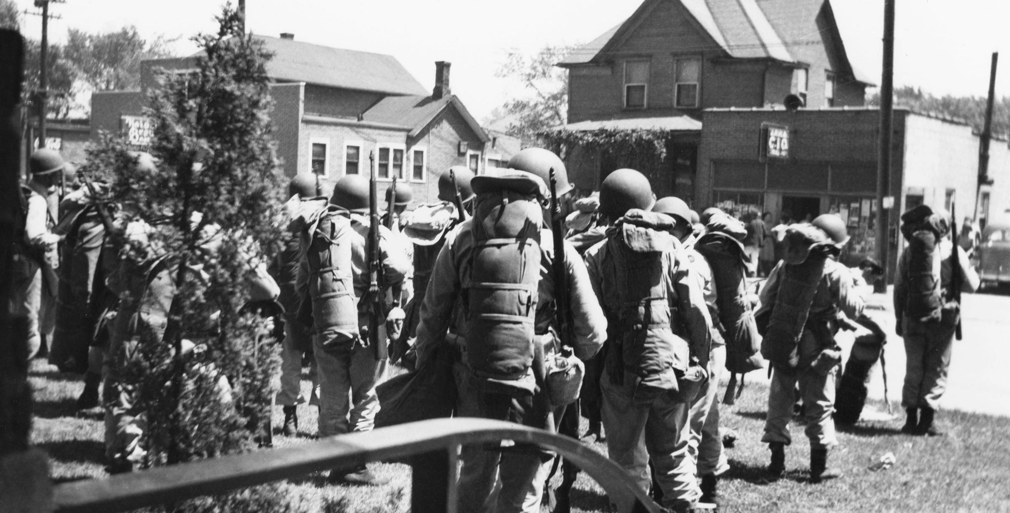 The national guard after being called in to monitor the Rath Packing Company strike in 1948. -- Leo R. Larson