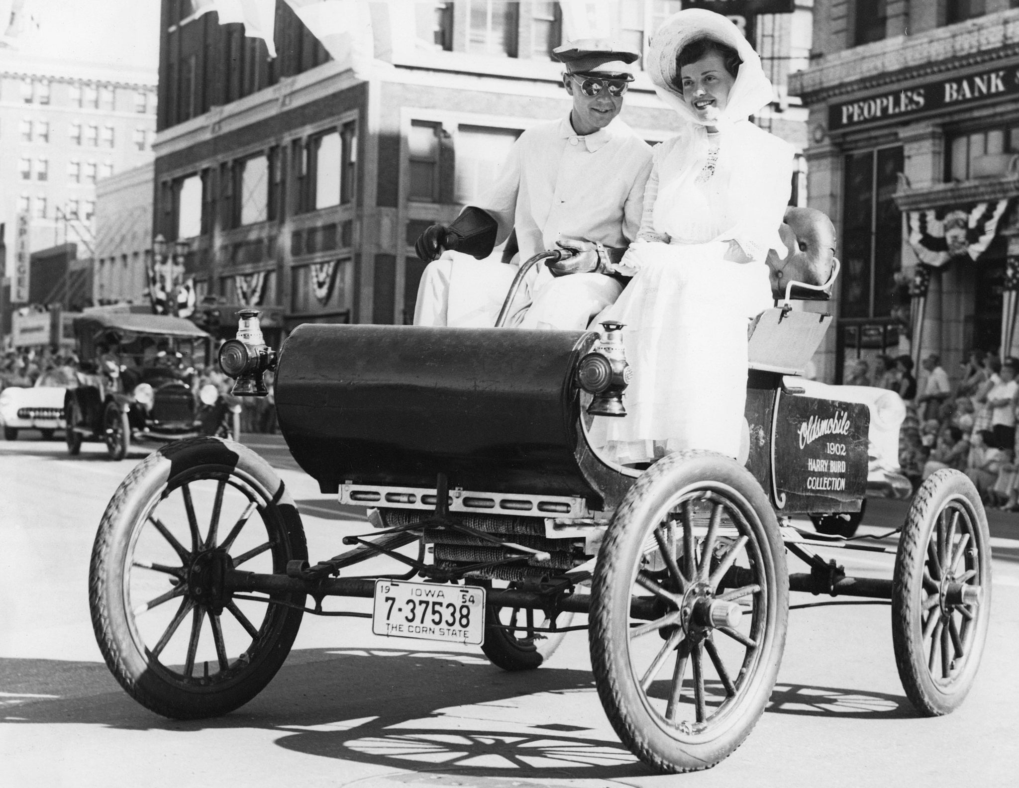 Harry Burd in his 1902 Oldsmobile for the Waterloo Centennial celebrations in 1954. -- Courtesy Grout Museum Archives