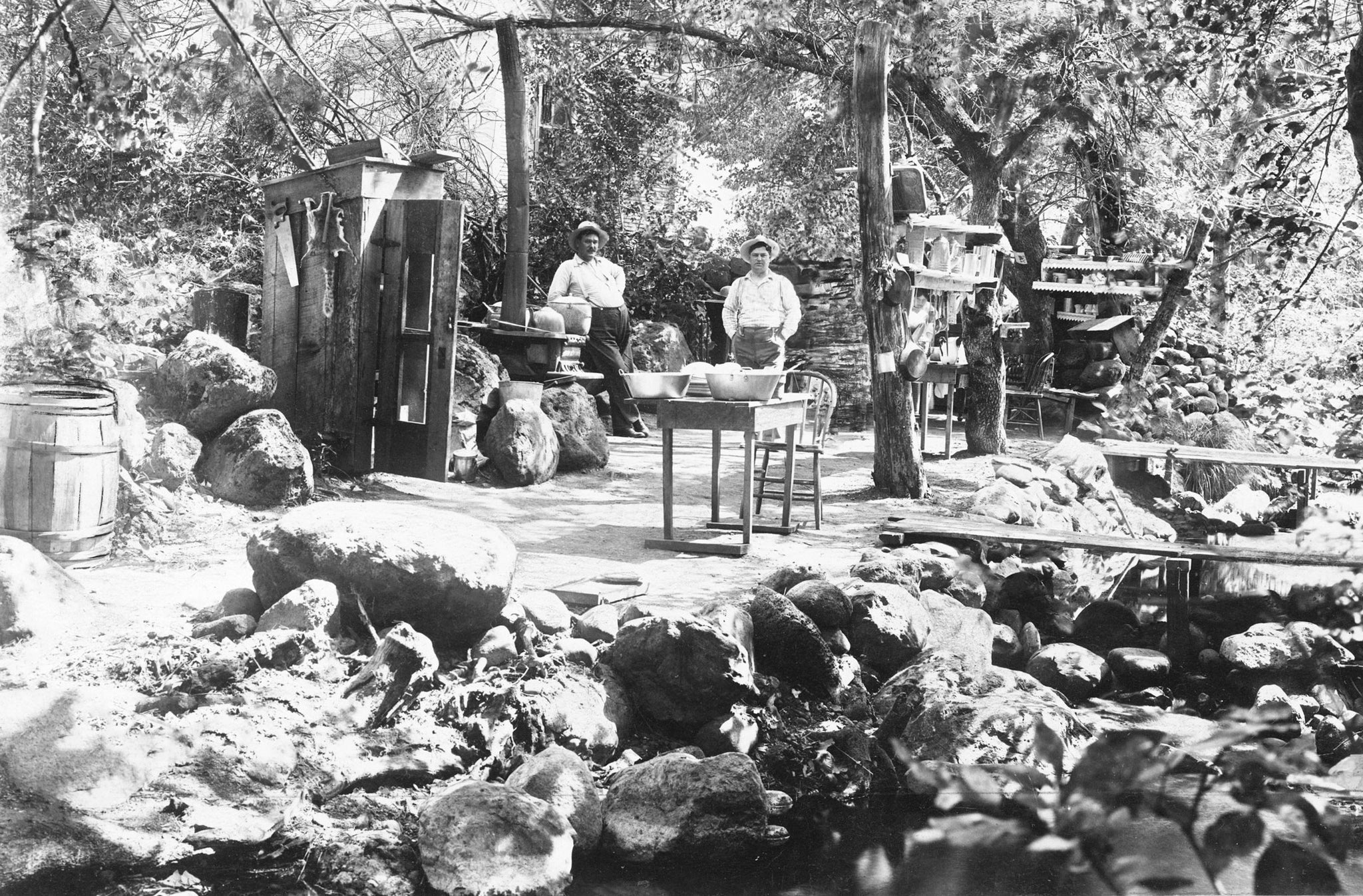 Campsite along Mud Creek in Richardson Springs resort, circa 1905. At Richardson Springs, guests had the option of staying in the Richardson Springs Hotel or camping. Later, cabins were also added to the resort. -- Courtesy Randy Taylor Collection