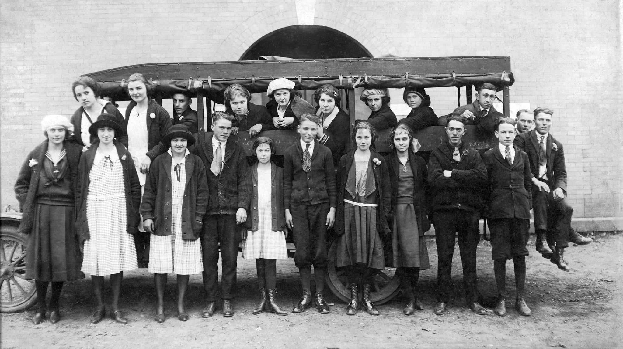 Students with the first school bus in Cleveland County, circa 1920. The bus, driven by Yates Spangler, carried students from the Double Shoals community to Piedmont School in Lawndale. -- Courtesy of Theresa Lowe, Lawndale Museum