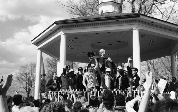 MASH boys basketball team celebrating their state runner-up finish at Diamond Park after returning home from Hershey in 1987. -- Courtesy of Tom Compton