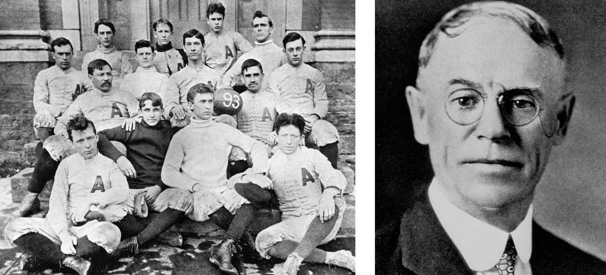 THE EARLY YEARS - Left: Allegheny College's first football team, 1893. Right: John Heisman, circa 1910. -- Courtesy of the Meadville Tribune (left) and Crawford County Historical Society (right)