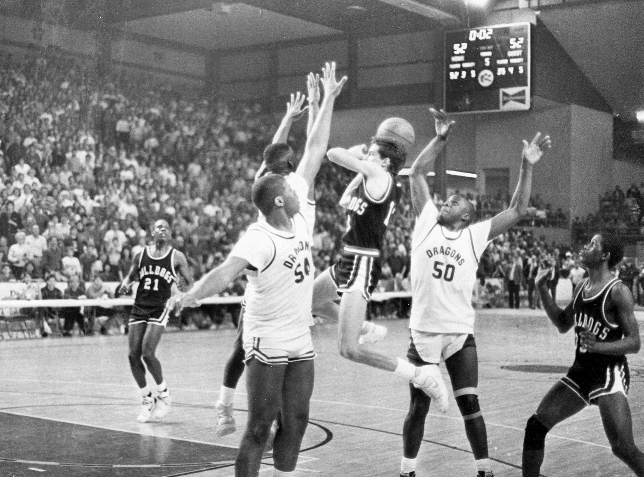 MASH's Mike Pero hitting the game winning shot against Allderdice in the PIAA Class AAAA West final (state semi-final) at the Erie Civic Center, 1987. -- Courtesy of Meadville Tribune