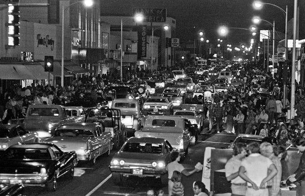 Cruisers are out in force during Graffiti Night, 10th Street, Modesto, 1979. -- Courtesy Al Golub/Golub Photography