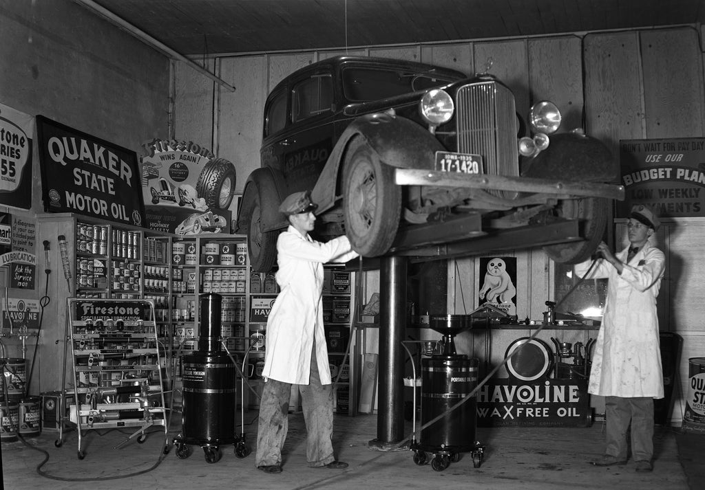 The service department at Firestone Tires, 1935. Included in the photograph is C. Stillwell. -- Mason City Public Library Archives