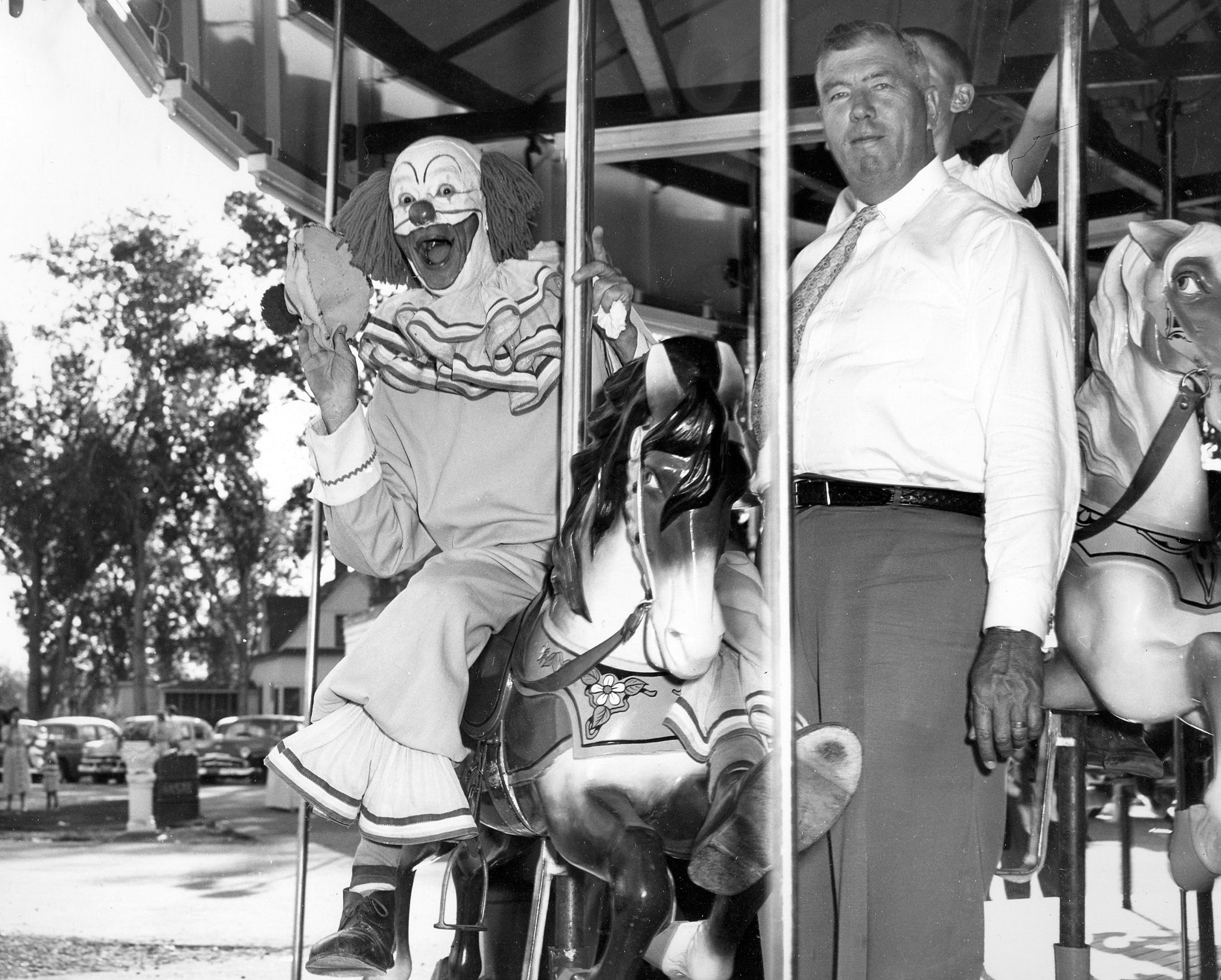 Bozo the Clown with Don Foote at Wonderland, 1954. -- Foote Collection, Western Heritage Center