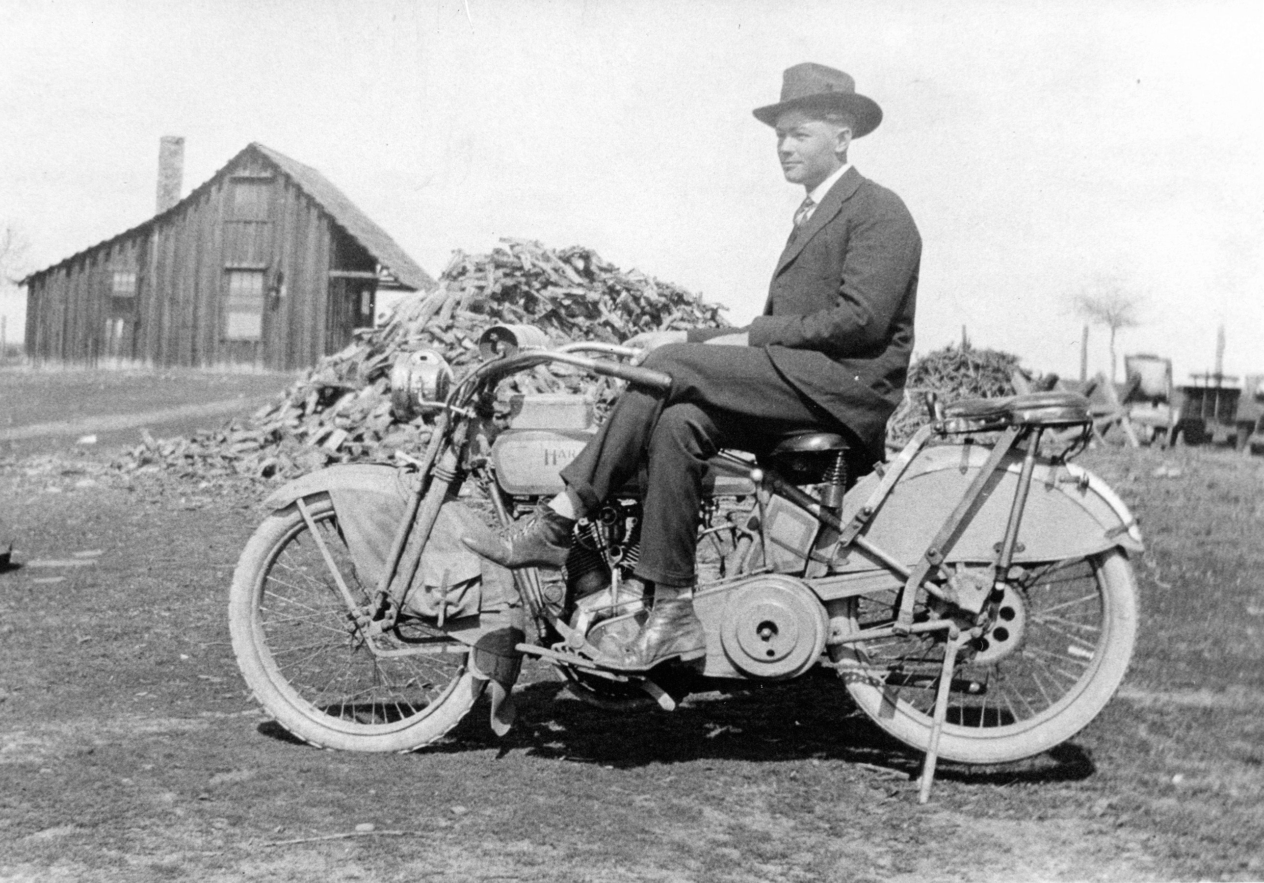 Antone Riebschlager on his Harley Davidson motorcycle in Clovis at Fran and Theresia Meisetschlagers farm on the southside of Shaw, circa 1915. Courtesy Judy Wathen-Farris