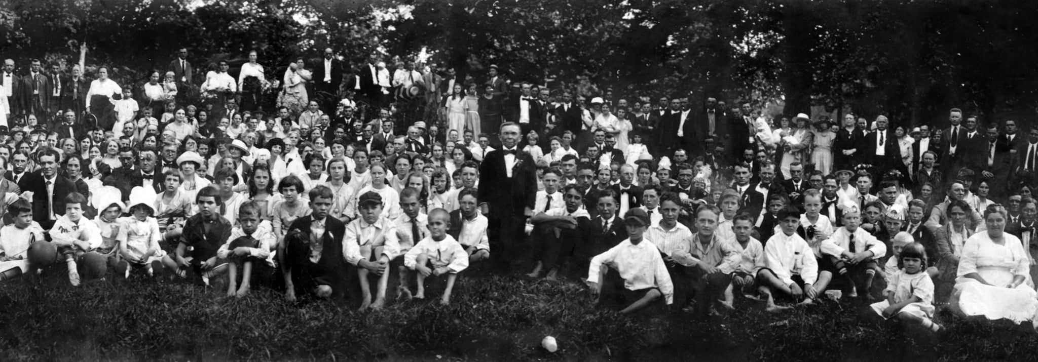 Gathering of the Kings Mountain Pythian Lodge No. 94 in 1921. The Guest of Honor (center) was the smallest Pythian, Major John Mertz, who stood 46 inches tall and weighed 62 pounds. -- Courtesy Kings Mountain Historical Museum