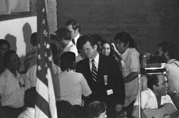 Massachusetts Senator Ted Kennedy greets activist Cesar Chavez at the First Constitutional Convention of the United Farm Workers Union at the Selland Arena, September 21, 1973. -- Courtesy Howard Watkins