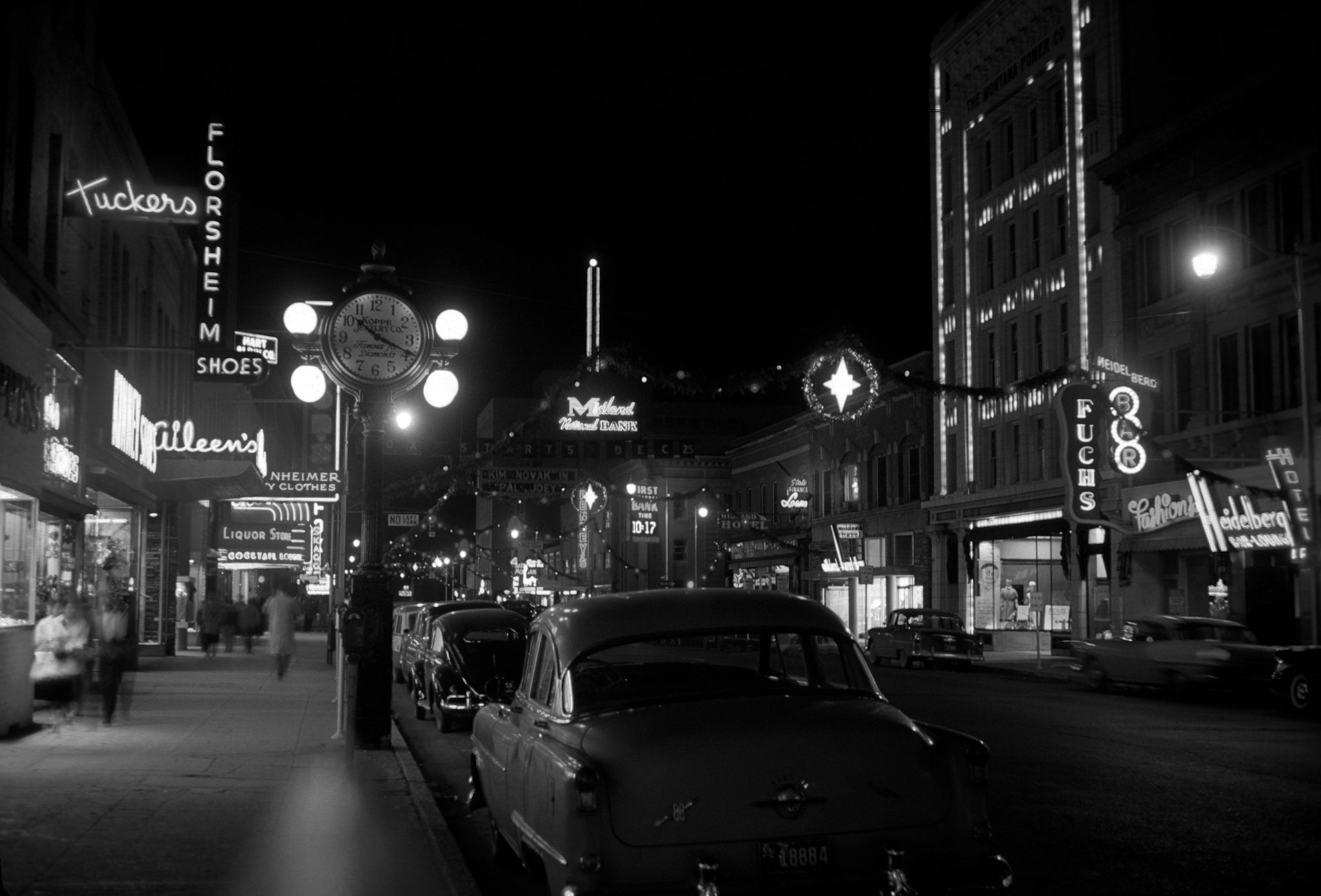 Christmas time on North 28th Street, December 1957. -- Michael Francis Photography