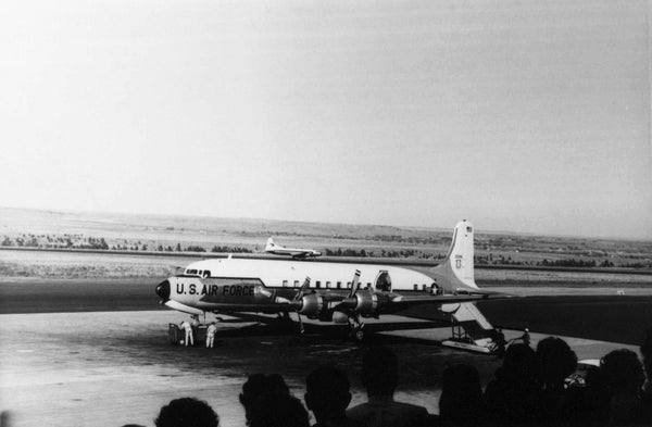 President John F. Kennedy arriving on Air Force One at Billings Logan International Airport, September 25, 1963. -- COURTESY WESTERN HERITAGE CENTER