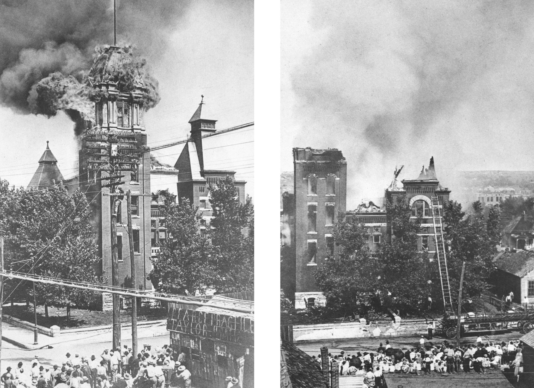 The Jasper County Courthouse on Seventh Street and Virginia Avenue burns on June 13, 1911. -- JOPLIN GLOBE ARCHIVES