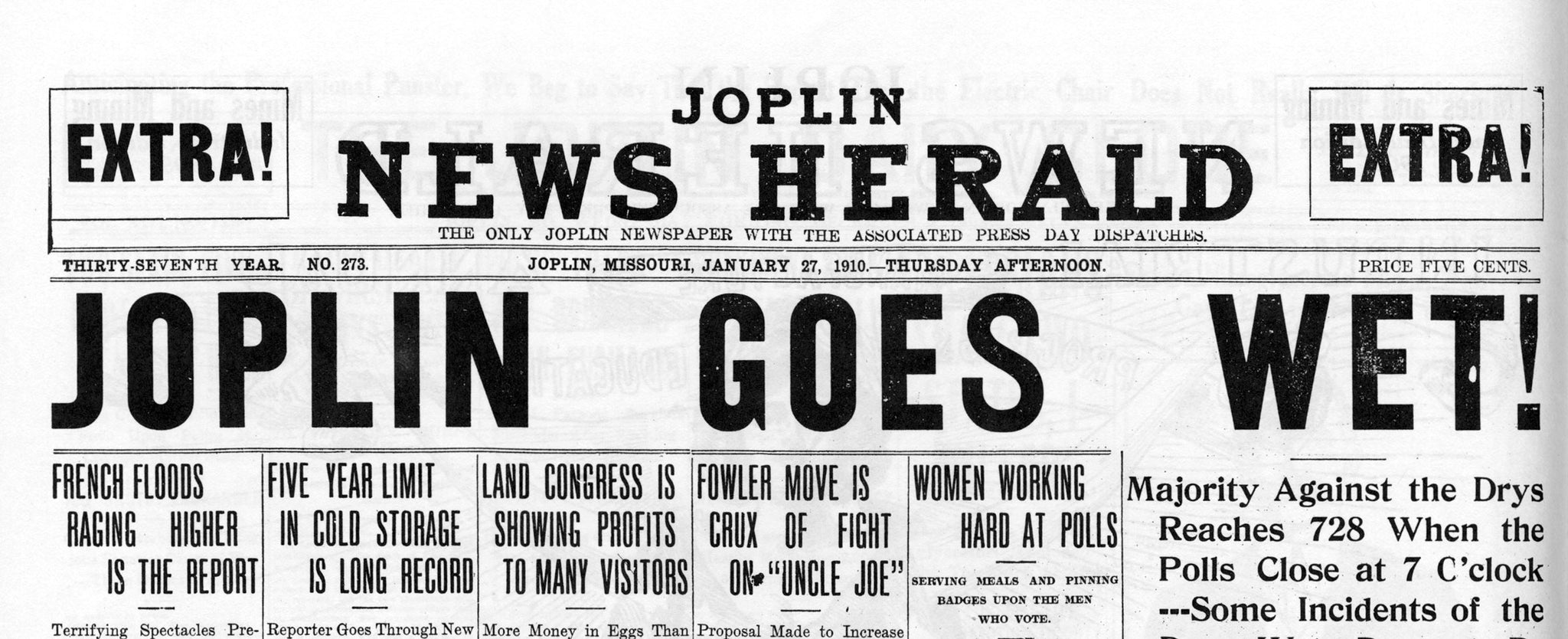 Excerpt from the extra edition of the Joplin News Herald on January 27, 1910. Voters decided to continue allowing saloons. -- JOPLIN GLOBE ARCHIVES