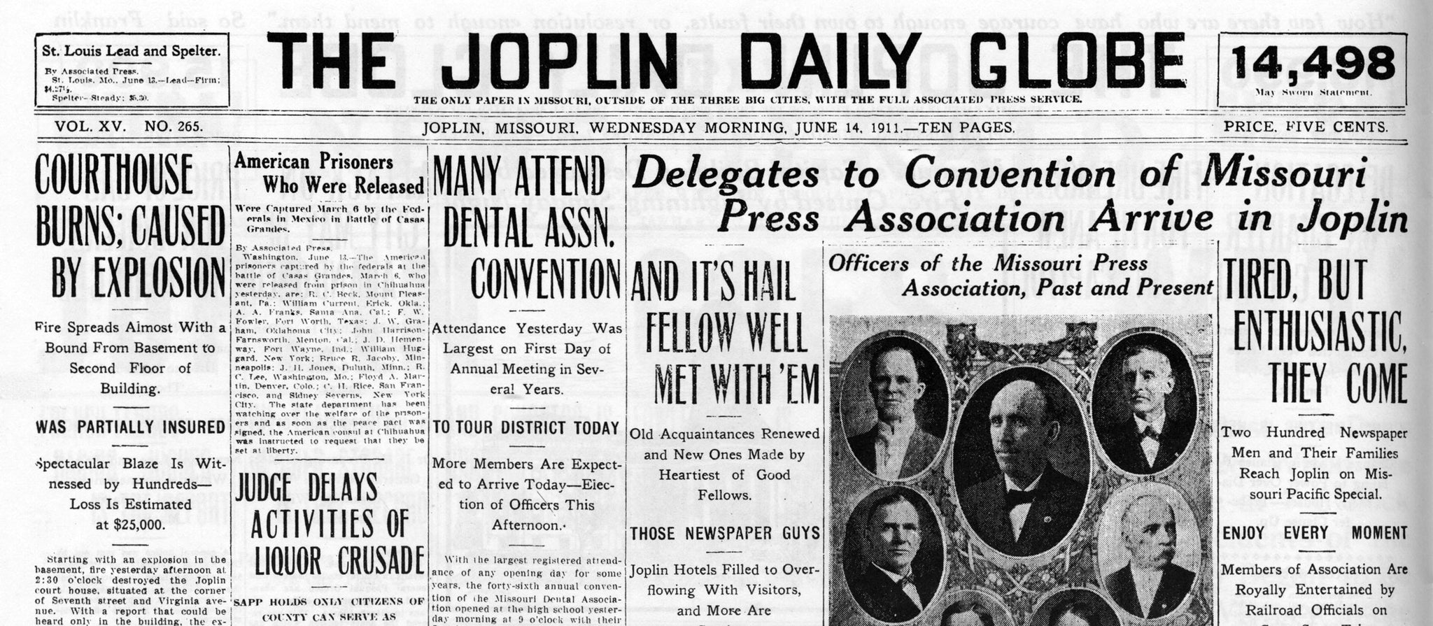 Articles in the Joplin Daily Globe's June 14, 1911 issue include the courthouse fire, a dentist convention, and a press convention. -- JOPLIN GLOBE ARCHIVES