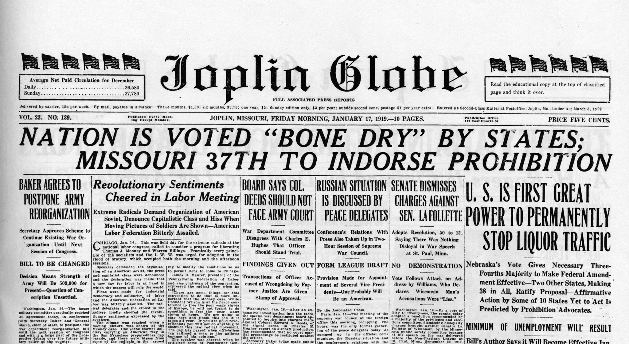 The Joplin Globe reported on nation-wide prohibition on January 17, 1919. -- JOPLIN GLOBE ARCHIVES