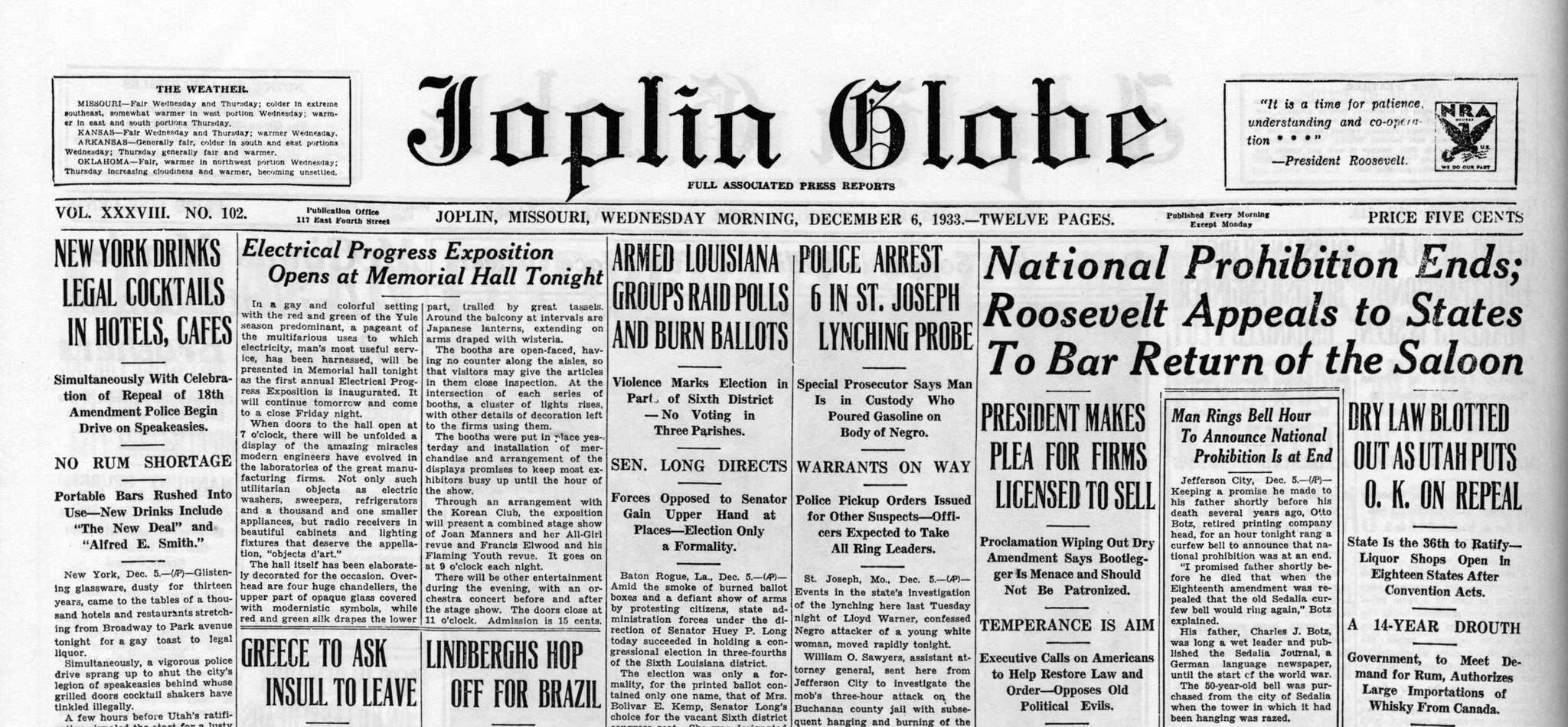 Excerpt of the December 6, 1933 edition of the Joplin Globe featuring a story on the end of Prohibition. -- JOPLIN GLOBE ARCHIVES