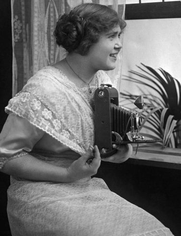 Rosella Morrow Miller holding her camera in 1917. -- Courtesy Adrianna Miller