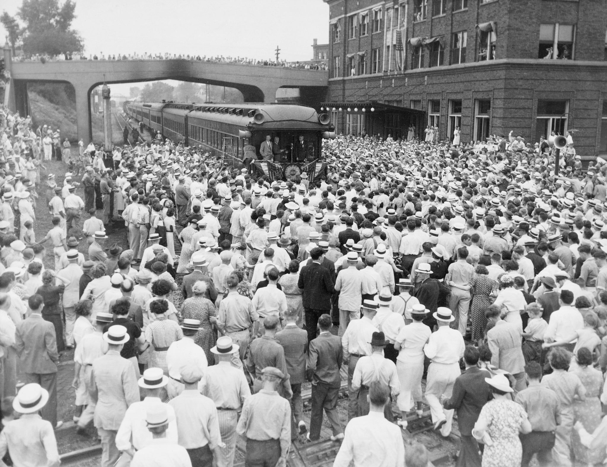 Kansas Governor Alf Landon making a campaign stop in Bloomington, 1936. -- The McLean County Museum of History, Pantagraph Collection