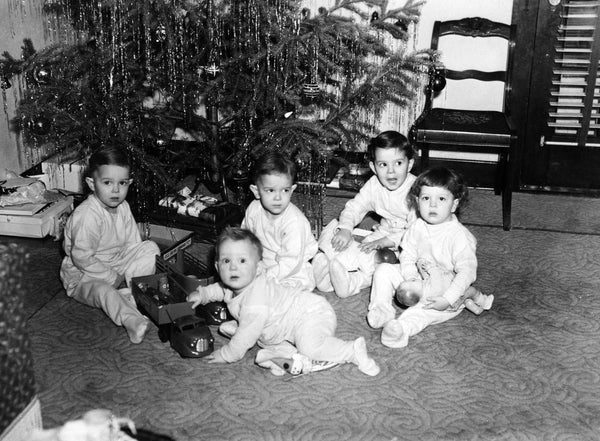 The grandchildren of Sam and Edna Bradfield with their new toys from Bolay's Hobbies on Christmas of 1949. Included are Jim, Jeff, John, Diane and Carol. -- Jeff Deremiah