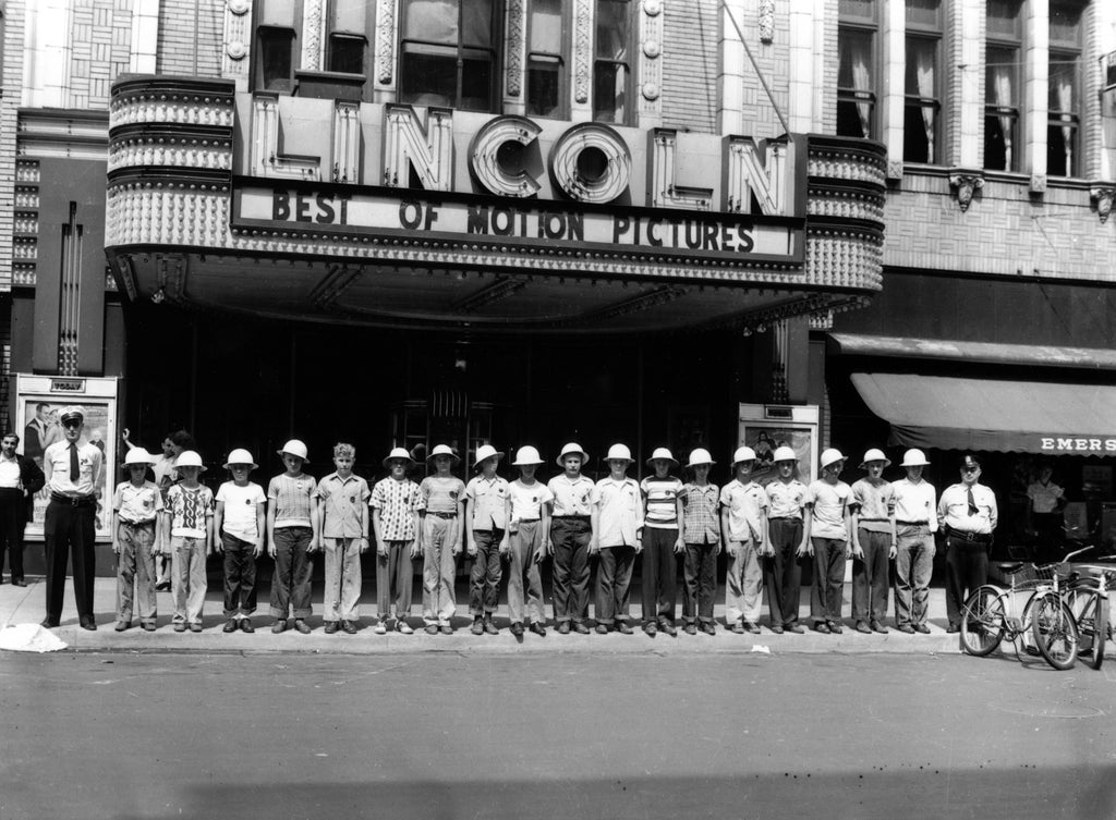 The junior police force standing outside of Lincoln Theater on June 14, 1948. Courtesy Decatur Public Library