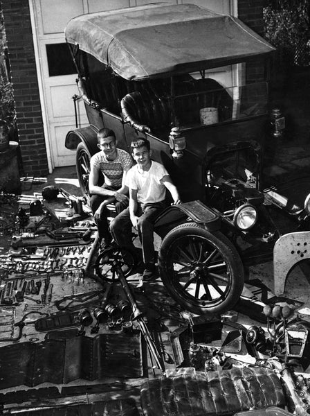 Two Decatur boys next to a disassembled Model T, circa 1965. -- Courtesy Macon County Historical Society Museum