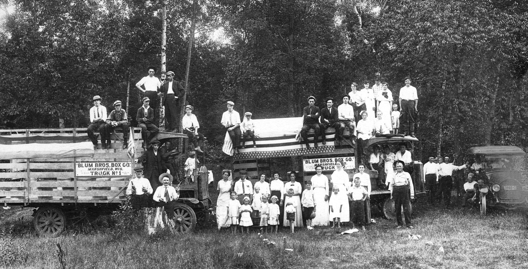The Blum company picnic in 1910. The Blum brothers, John and Paul, owned the Blum Brothers Box Company and the Wisconsin Butter Tub Company. -- Courtesy North Wood County Historical Society / #C112.15