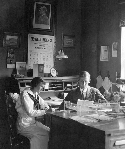 Blum Brothers Box Company president, Paul Blum with his secretary Molly Dix, August of 1920. -- Courtesy North Wood County Historical Society / #C112.21