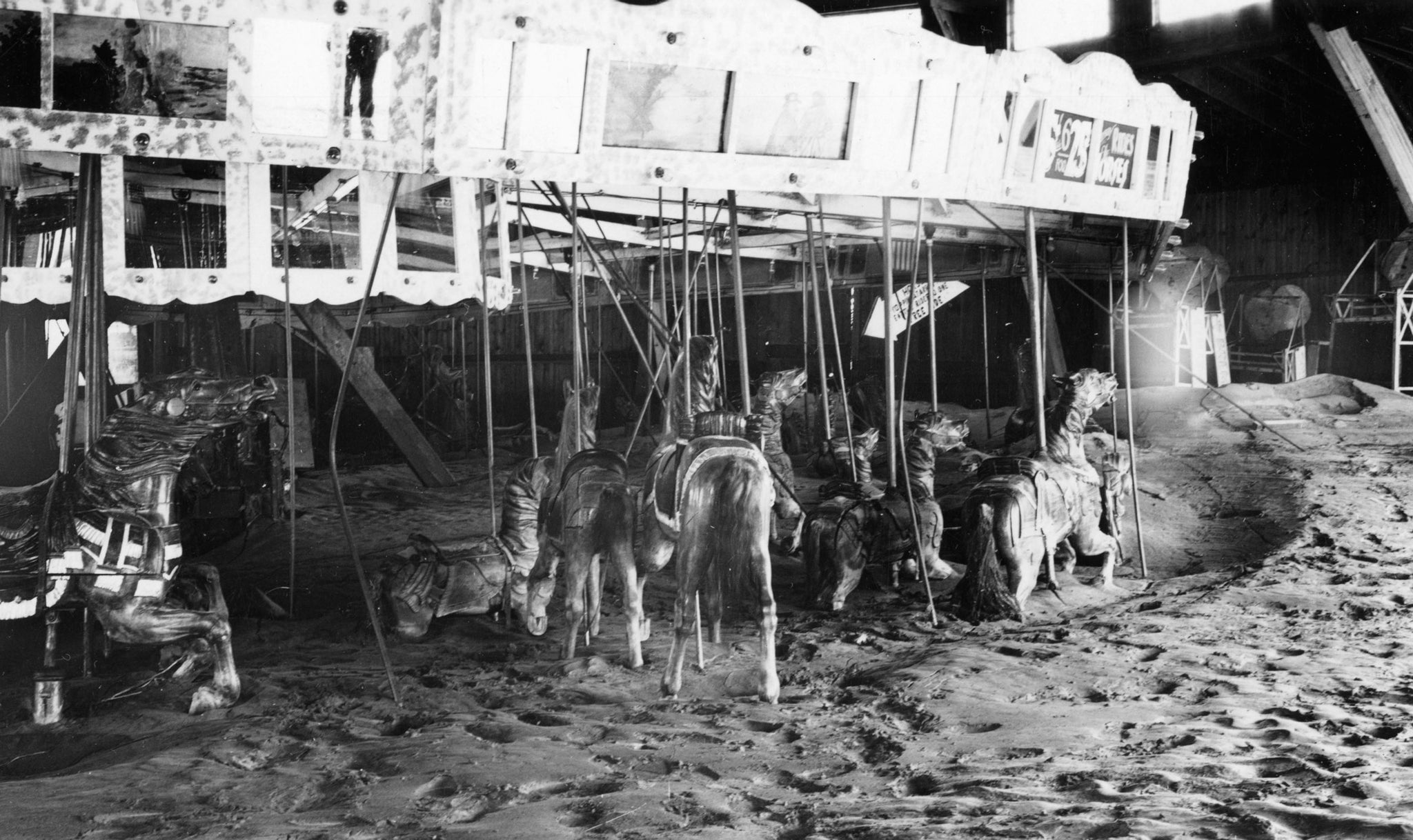 Merrimack Park carousel in the aftermath of the Great Flood of 1936. The amusement park operated along the Merrimack River between 1921 and 1936. -- Methuen Historical Commission