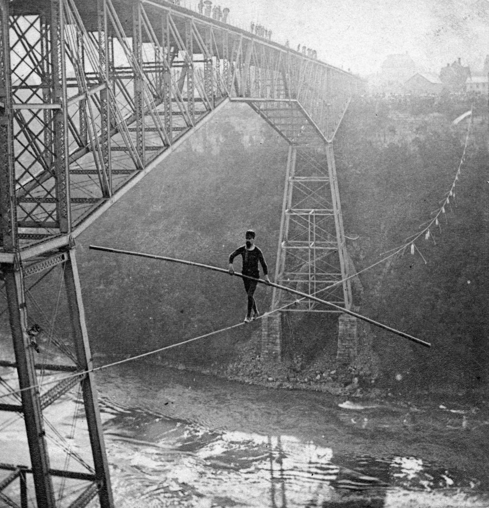 S.J. Dixon on his 7-8 inch wire, circa 1890. -- Niagara Falls Public Library