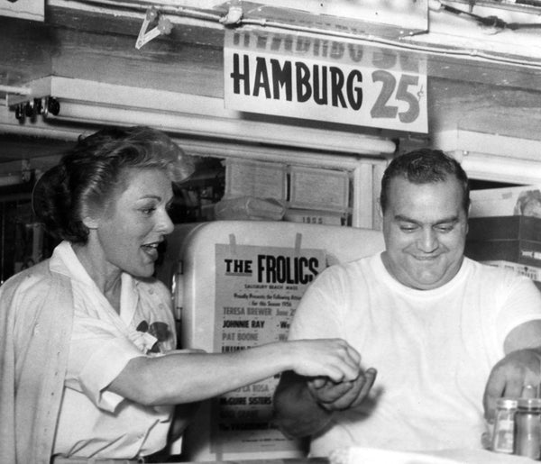 Lillian Roth and Dominic DiPrima serving customers at Joan & Linda Pizza, Salisbury Beach, July 21, 1956. -- Courtesy Joan Petersen