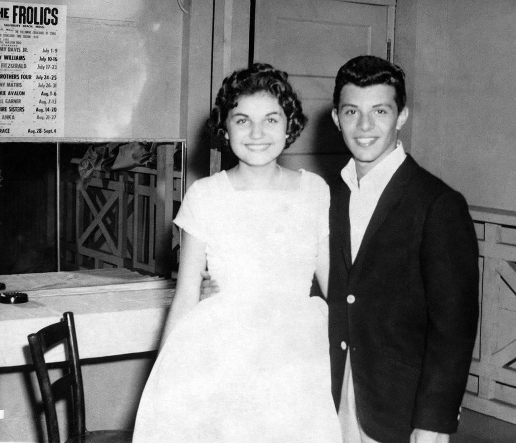 Joan DiPrima has her photo taken with Frankie Avalon who was at Salisbury Beach to perform at the Frolics, early 1960s. -- Courtesy of Joan Petersen