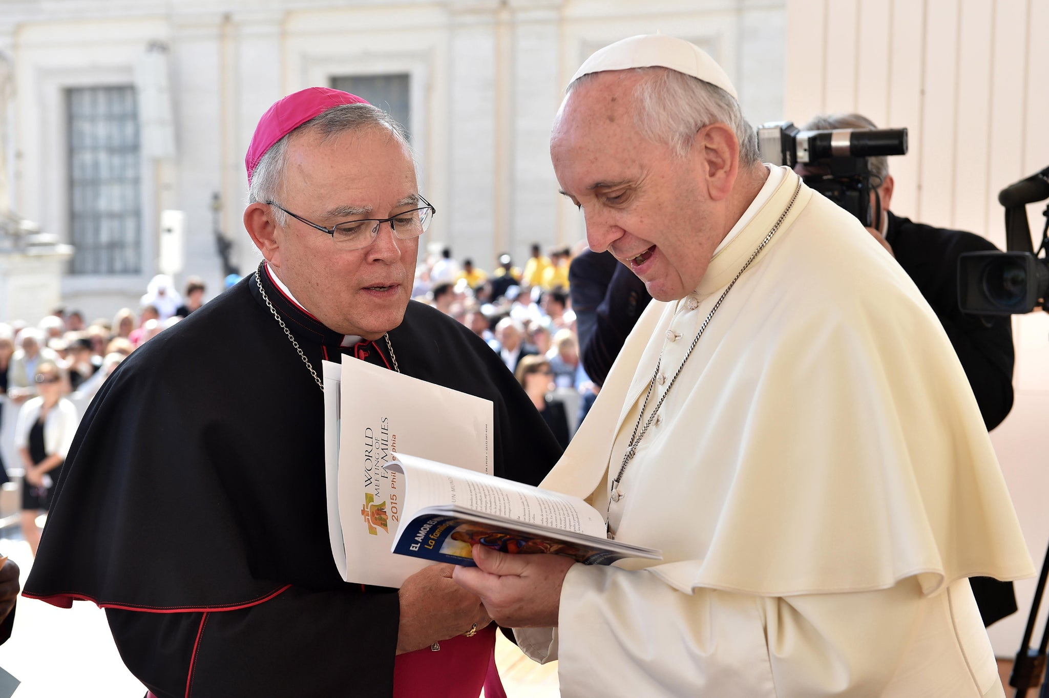 Pope Francis and Archbishop Chaput at an audience in Saint Peter's Square. -- L'Osservatore Romano Photographic Service