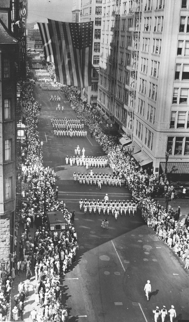 Sailors and Marines marching in Portland during Fleet Week, July 1936.