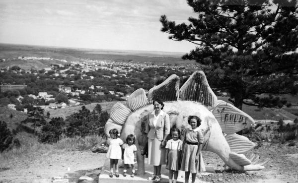 Frances M. Wise, center, and her daughters, from left, Cathy, Jani, Nancy, and Mary at Dinosaur Park, Rapid City, 1951. -- Courtesy of Jan Gustin