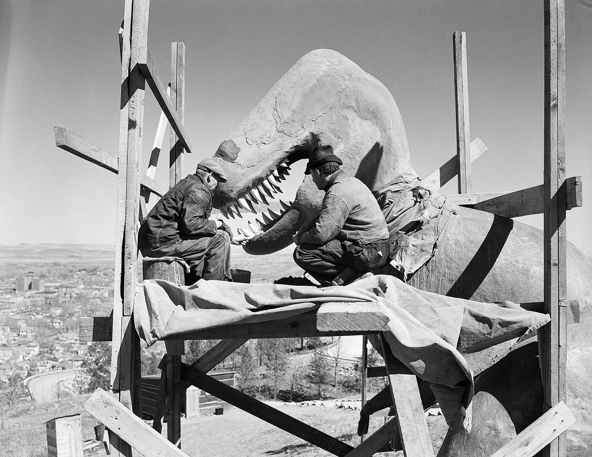 Dinosaur Park statue construction, 1930s. The sculptures were designed by Emmet Sullivan and the park was dedicated on May 22, 1936. -- Courtesy of the Rapid City Journal