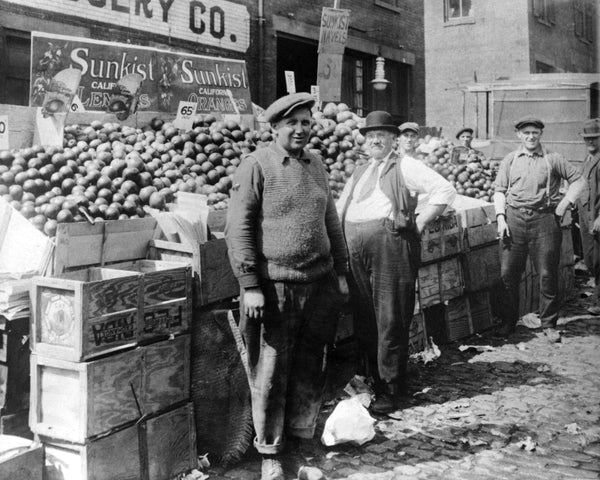 Oranges for sale at the Salem Market at Derby Square in the early 1900s. David Zoller is on the left. -- Courtesy Phillips Library, Peabody Essex Museum