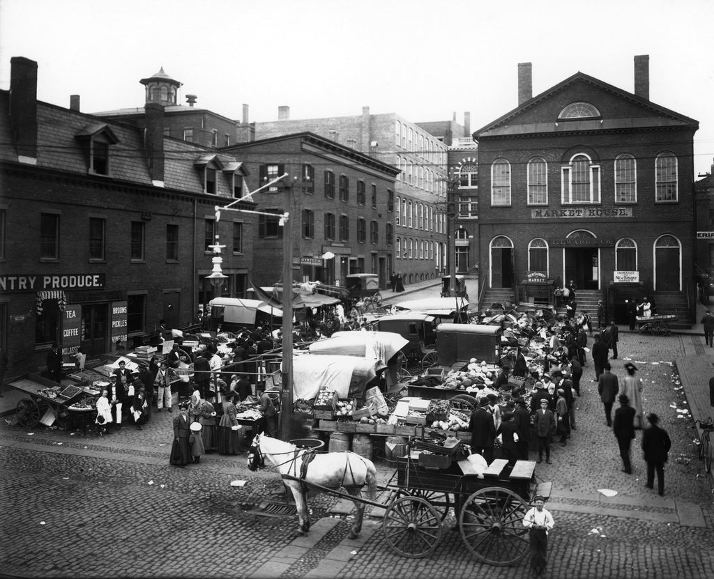 The Derby Square market, as seen from Front Street, circa late 1800s. -- Courtesy Phillips Library, Peabody Essex Museum