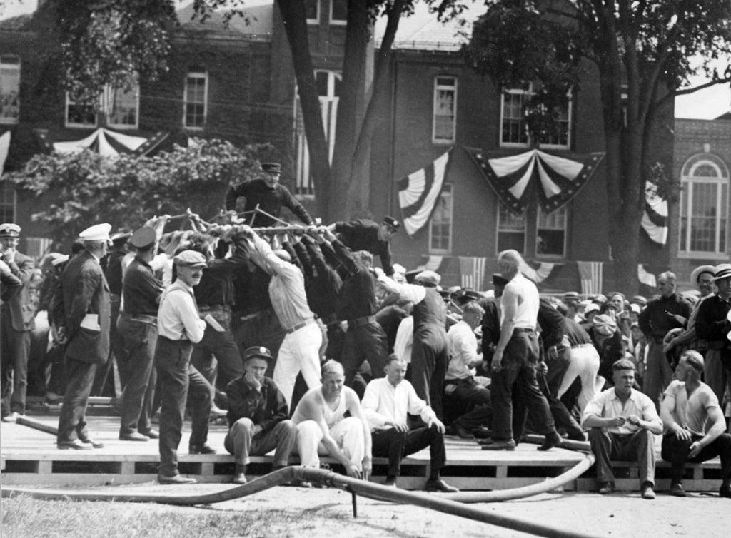 The Veteran Firemen's hand engine muster competition, July 10, 1926. -- Courtesy Phillips Library, Peabody Essex Museum