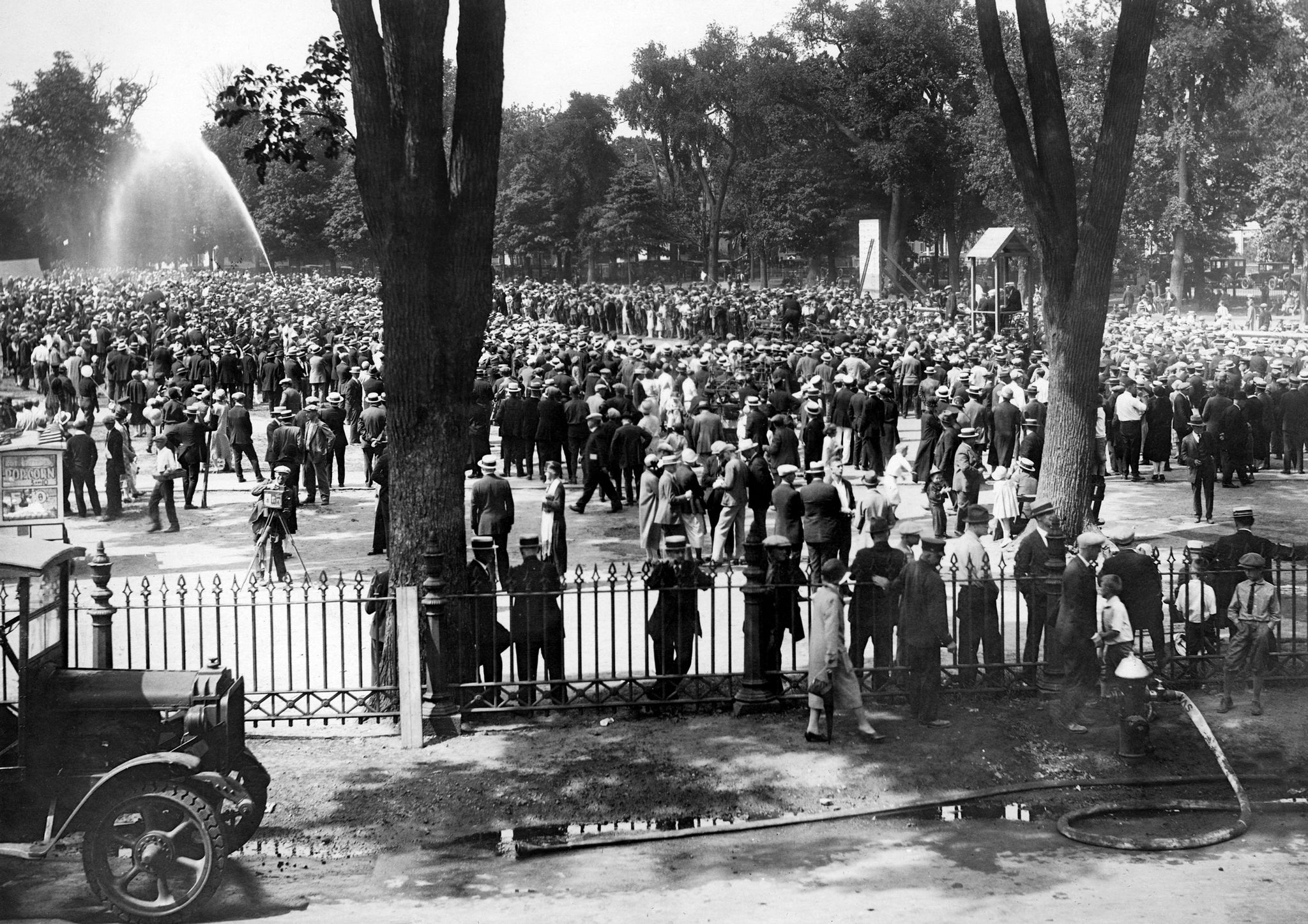 Hundreds gather to watch firemen compete in the muster at the Salem Tercentenary in 1926. -- Courtesy Phillips Library, Peabody Essex Museum