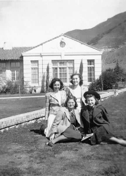 Students in front of San Luis Obispo High School, 1940s. Those identified include Elvira Rodrigues and Anita Hagopean. -- Courtesy John M. Oliveira