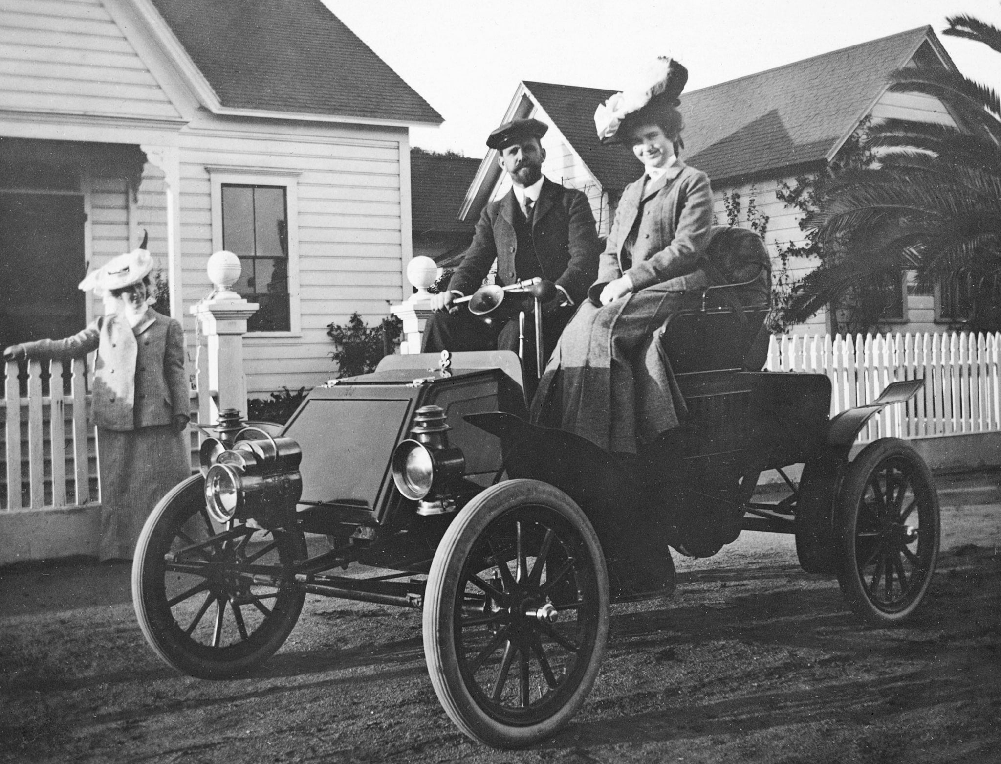 The first automobile in Watsonville, 1902. This 1902 Rambler Model C Runabout was a single-cylinder, six-horsepower vehicle and was truly a horseless carriage using a lever to steer the vehicle. It sold for $750. -- Courtesy of Charles Bergtold